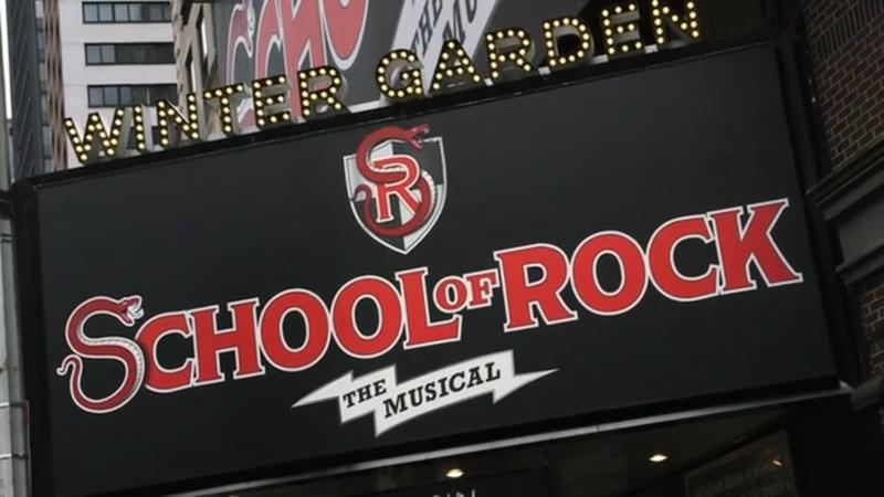 A marquee display for School of Rock: The Musical at Broadway's Winter Garden Theatre