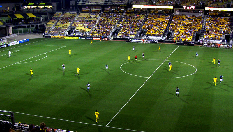 A match between Columbus Crew SC and the Portland Timbers in Columbus' Mapfre Stadium.