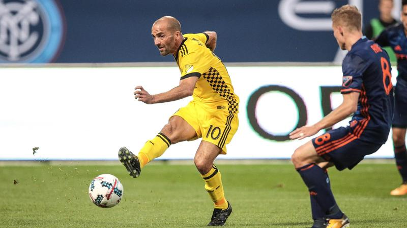 Crew midfielder Federico Higuain and his teammates play the Atlanta United Thursday in Atlanta.