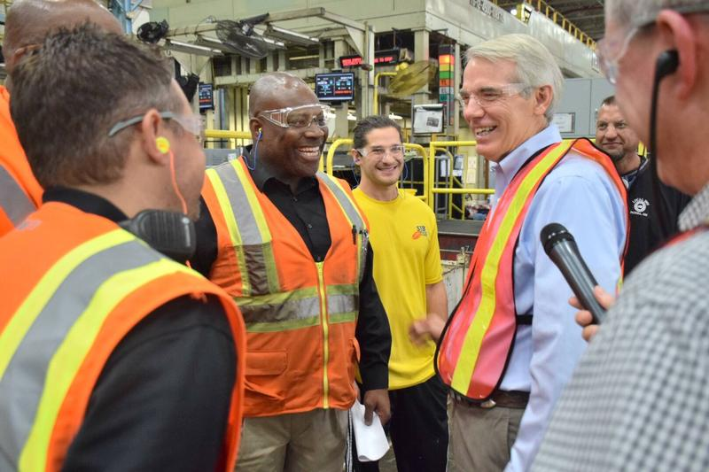 Sen. Rob Portman tours the General Motors Parma Metal Center as part of a tour of Ohio auto centers.