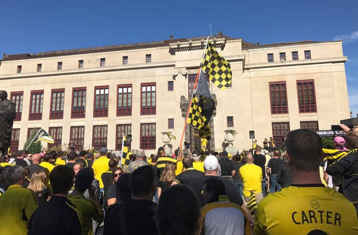 Columbus Crew SC fans gathered outside Columbus City Hall on Sunday for the Save the Crew rally.