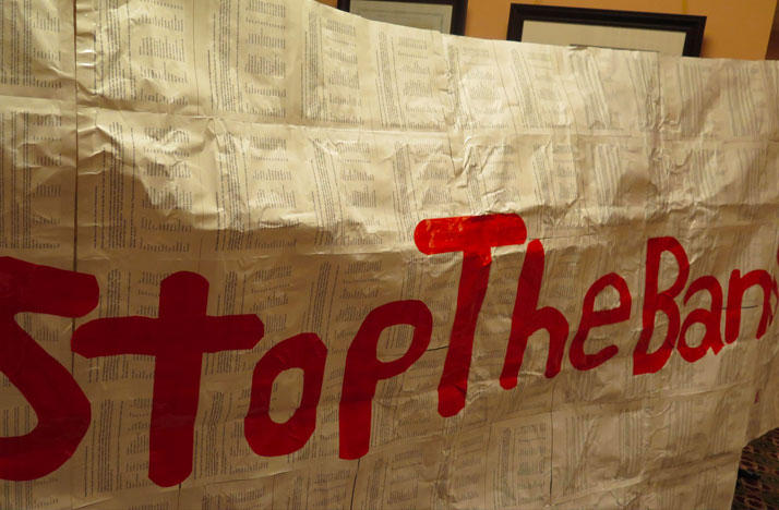 Opponents of the bill made a banner of petition signatures of people who also oppose it and left it at Ohio House Speaker Rosenberger's office.