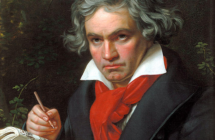 Portrait of Ludwig van Beethoven in 1820