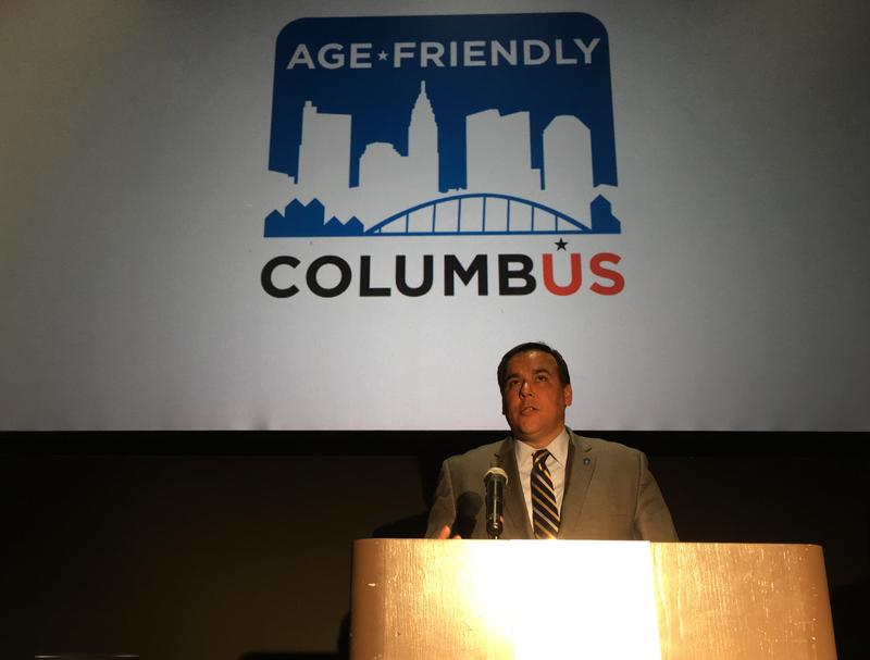Mayor Andrew Ginther speaks about the Age-Friendly strategic plan.