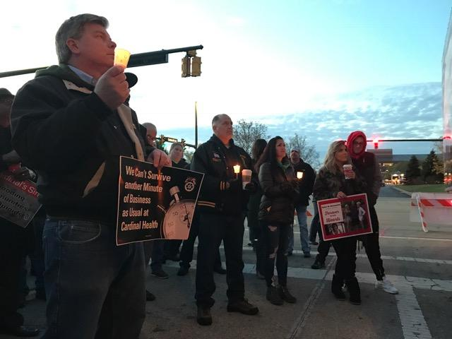 Before dawn, about 75 Teamsters and their supporters held candles to honor those who've died or are still struggling with addiction.