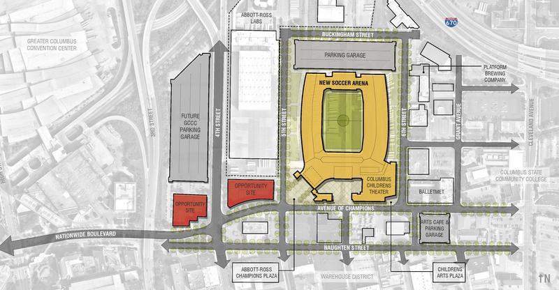 The proposed Spirit of Columbus Park would sit just between 5th and 6th streets, east of the Arena District.