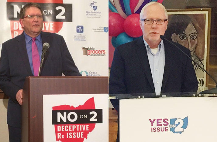 No on Issue 2 Campaign Manager Curt Steiner (left) and Yes on Issue 2 spokesperson Dennis Willard (right) speak Tuesday night after Issue 2 was strongly defeated by Ohio voters.