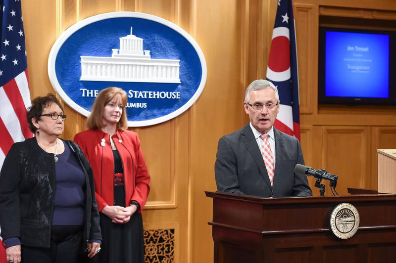 Youngstown State president Jim Tressel joined with state rep. Marlene Anielski to discuss suicide prevention efforts.