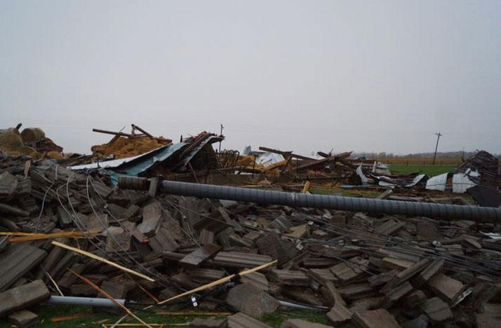 A tornado in Mercer County caused damage to a farm near Celina, Ohio.