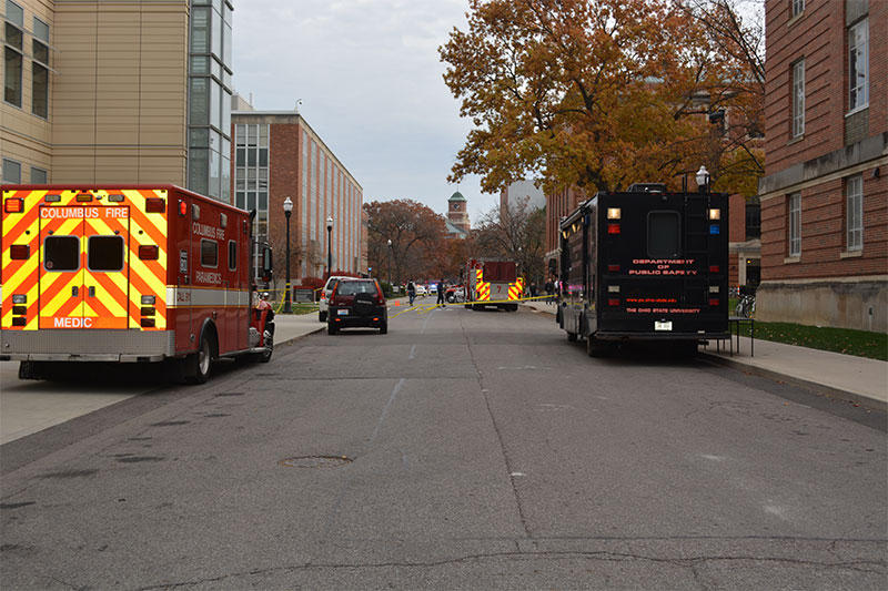 First responder vehicles on the scene of the knife attack at Ohio State on November 28, 2016 attack