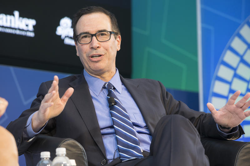 "Treasury Secretary Steven Mnuchin during a ""Conversation on the U.S. Economy"" on April 22, 2017, at the IMF Headquarters in Washington, DC."
