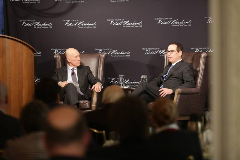U.S. Treasury Secretary Steve Mnuchin (right) takes questions from National Retail Federation President/CEO Matthew Shay at the Ohio Council of Retail Merchants luncheon.