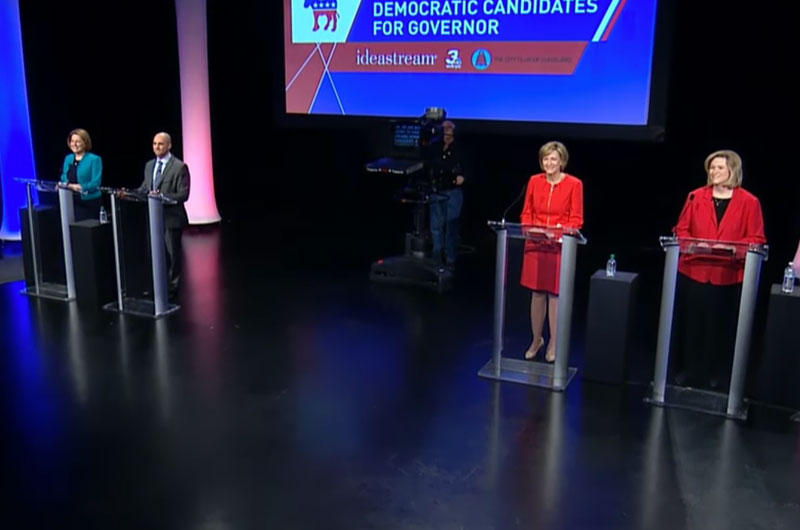 Former State Rep. Connie Pillich, State Sen. Joe Schiavoni, former U.S. Rep. Betty Sutton and Dayton Mayor Nan Whaley (left to right) met for their third debate, this time in downtown Cleveland.