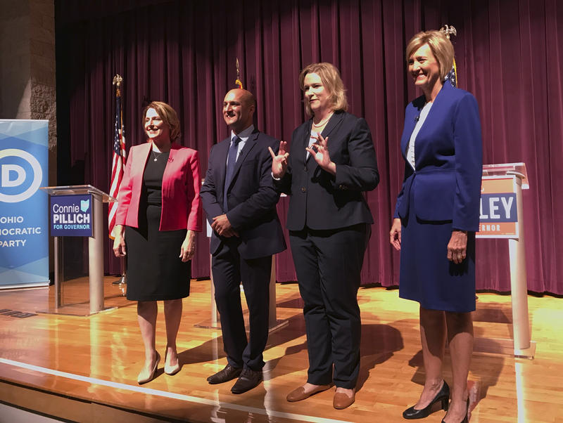Democratic candidates for Ohio governor, from left, ex-state Rep. Connie Pillich, state Sen. Joe Schiavoni, Dayton Mayor Nan Whaley and former U.S. Rep. Betty Sutton met, Tuesday, Sept. 12, 2017, in Martins Ferry, Ohio, for their first debate.