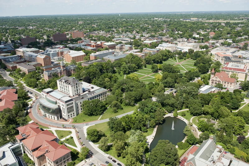 Aerial view of The Oval on Ohio State University's campus