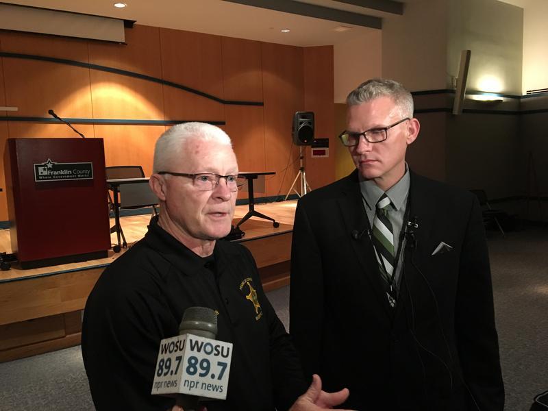 Franklin County Sheriff Dallas Baldwin and Chief Rick Minerd of the investigative sub-division spoke at a recent press conference.