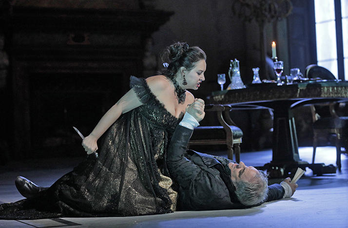 Sonya Yoncheva as Tosca and Željko Lučić as Scarpia rehearse Act II for David McVicar's new production of 'Tosca.'