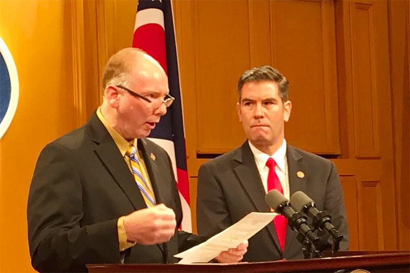 Ohio Reps. John Becker and Craig Riedel announce a new bill to make Ohio a right-to-work state.