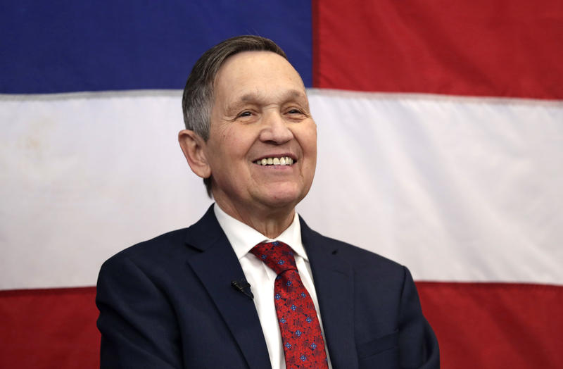 Former U.S. Rep. Dennis Kucinich smiles before speaking at a news conference announcing his run for Ohio governor, Wednesday, Jan. 17, 2018, in Middleburg Heights, Ohio.
