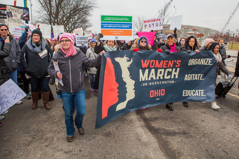Women's March Ohio with event founders Lindsey Marie Shriver (left) and Rhiannon Childs on January 15, 2017.