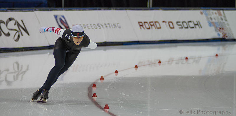 Anna Ringsred skates in the 5000 meter race at the 2014 United States Olympic Trials