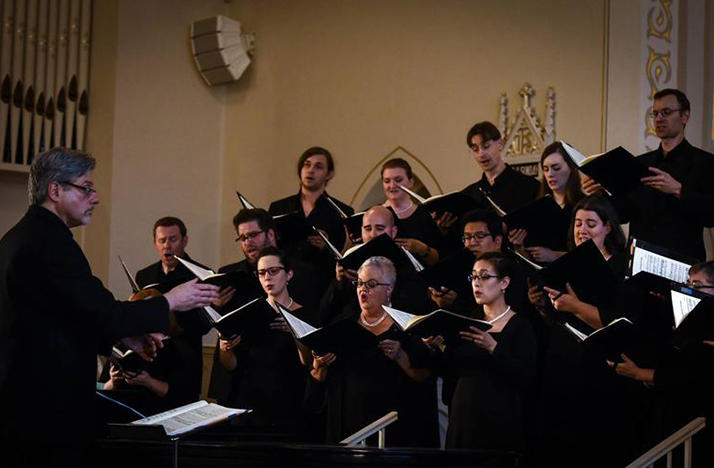 color photo of Lancaster Chorale performing