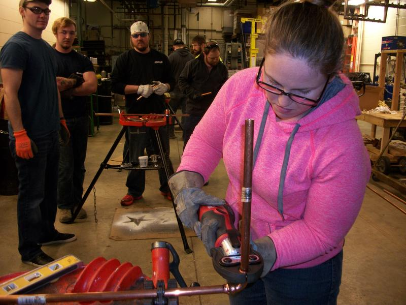 Stacie Alexander, who's training to become a pipe-fitter, is one of 468 female apprenticeships in Act Ohio's program.