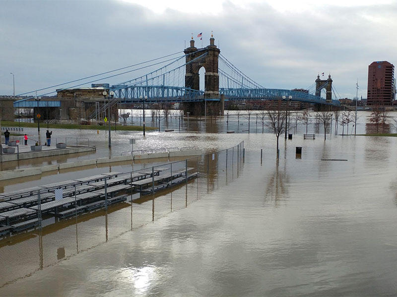 The Ohio River flooded portions of Cincinnati over the weekend.