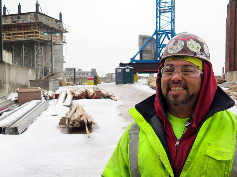 Kai Yee on a Cleveland construction site in winter