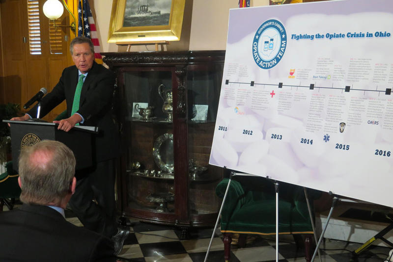 Gov. John Kasich discusses new reporting guidelines for wholesale drug distributors at the Ohio Statehouse in Columbus.