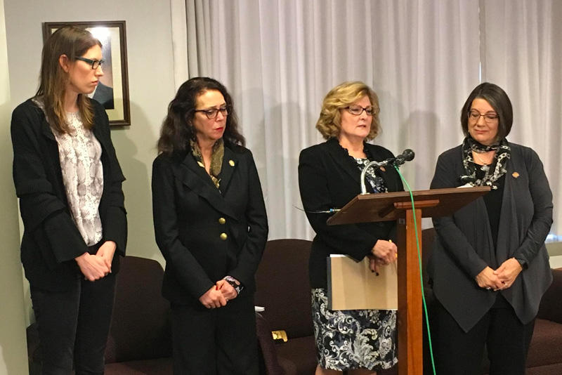 Ohio lawmakers Kathleen Clyde, Michele Lapore-Hagan, Teresa Fedor and Nickie Antonio call for the resignation of Bill Seitz.