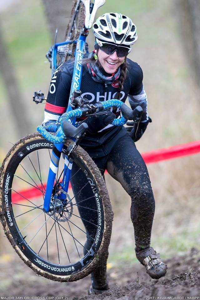 Steep conditions and mud forced cyclers to dismount their bikes at a conference race at Marian University.