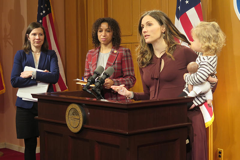 Rep. Kristin Boggs, from left, Rep. Janine Boyd and Elizabeth Brown, executive Columbus City Council member and director of Ohio Women's Public Policy Network, discuss a bill that would require 12 weeks of paid family leave in Ohio.