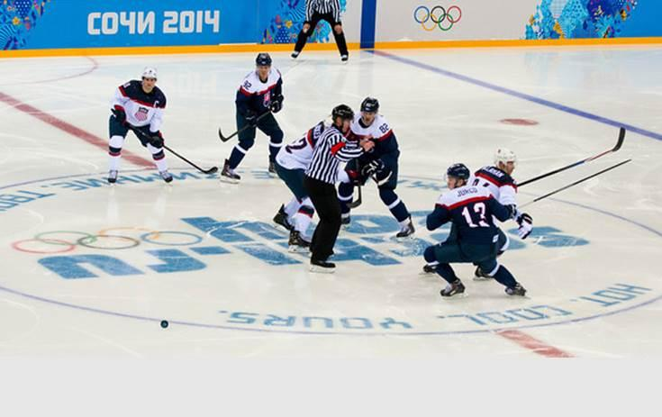 The U.S. men's hockey team faces off against Slovakia at the 2014 Olympic Games.