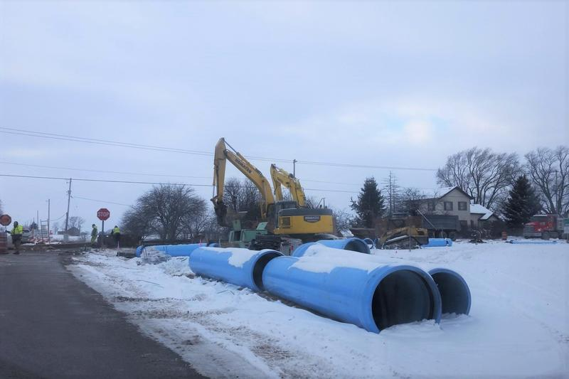 Water pipes being built near the site of Foxconn's Wisconsin factory.