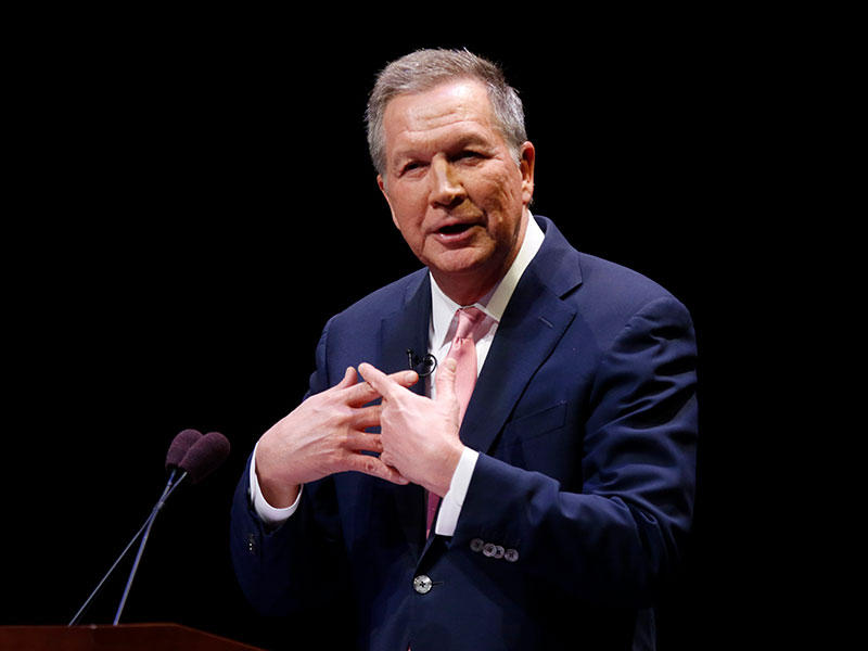 Ohio Governor John Kasich speaks during the Ohio State of the State address in the Fritsche Theater at Otterbein University in Westerville, Tuesday, March 6, 2018.
