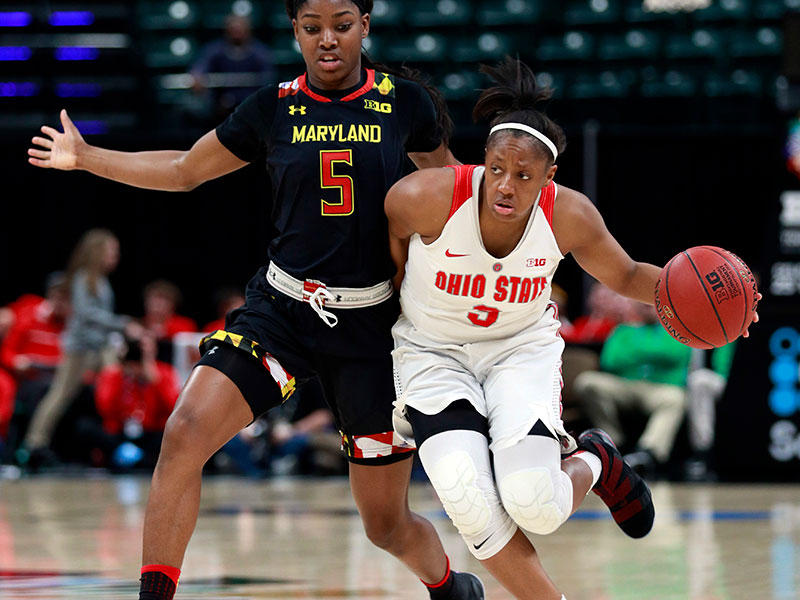 Ohio State guard Kelsey Mitchell, right, dribbles the basketball while being defended by Maryland guard Kaila Charles during the second half of an NCAA college basketball game in the finals of the Big Ten conference tournament on March 4, 2018.