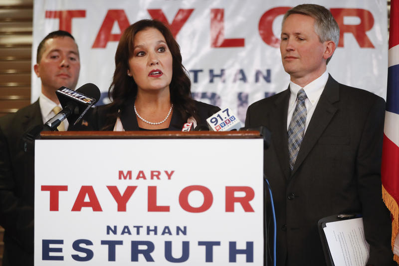 Ohio Lt. Gov. Mary Taylor with her running mate, Nathan Estruth.