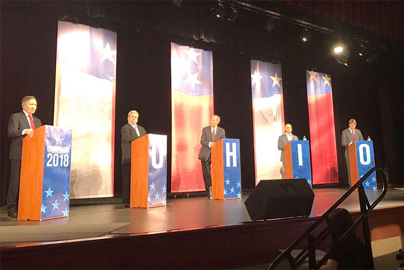 Dennis Kucinich, from left, Bill O'Neill, moderator WTOL-TV anchor Jerry Anderson, Joe Schiavoni and Richard Cordray take part in the Ohio Governor Democrat debate Wednesday night in Toledo.