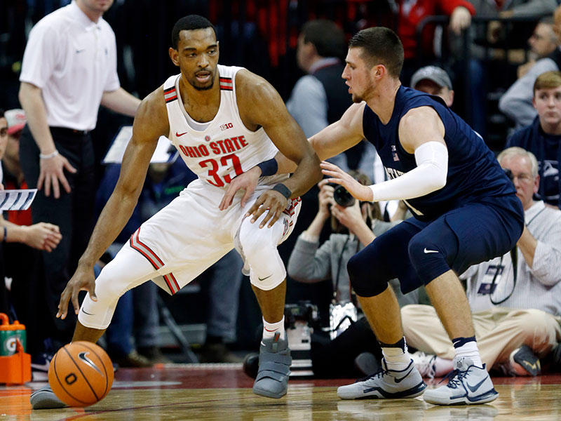 Ohio State forward Keita Bates-Diop, left, drives against Penn State forward Deivis Zemgulis during a game in Columbus on January 25, 2018.