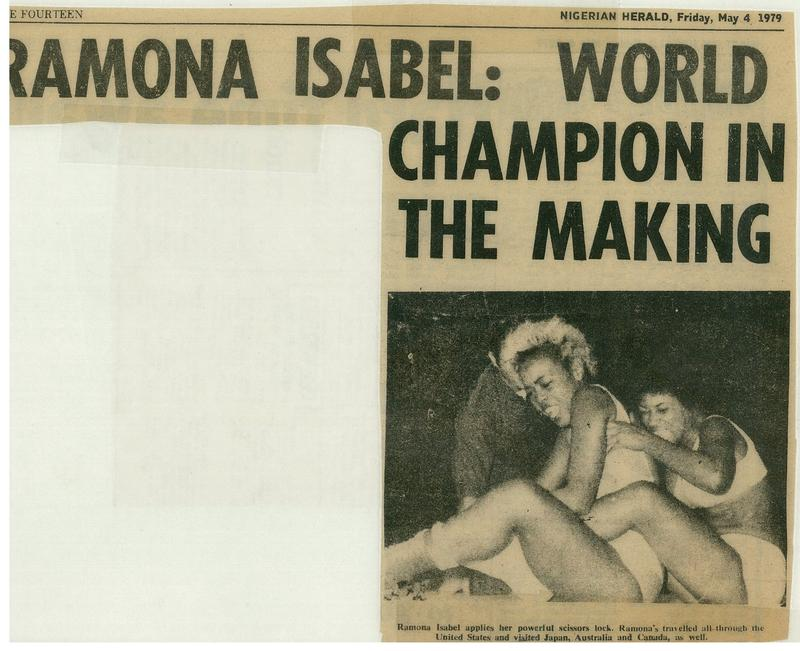 A Nigerian newspaper promoted Ramona Isbell's appearance in the world women's wrestling championship.