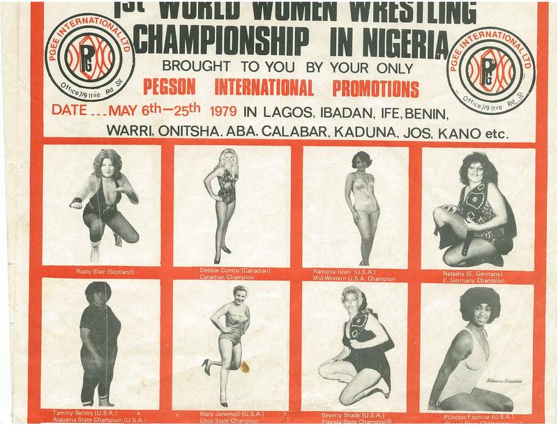 An advertisement for the first world women wrestling championship in Lagos, Nigeria.
