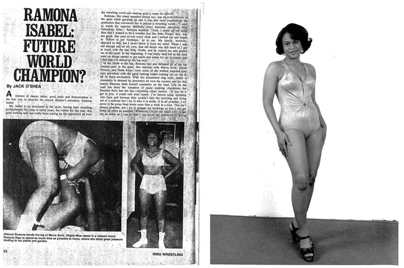 A newspaper clip bills Ramona Isbell as a possible future world champion (left). Ramona Isbell stands in a promotional photo (right).