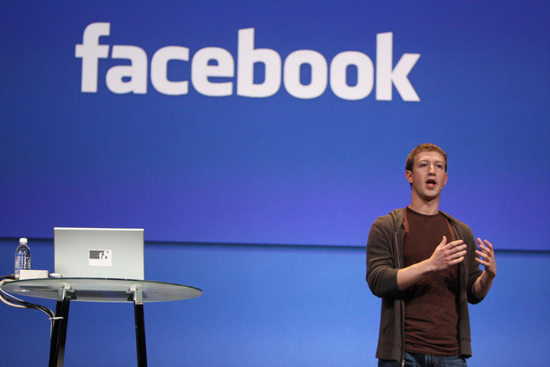 Creator of Facebook Mark Zuckerberg gives a keynote speech in 2008.