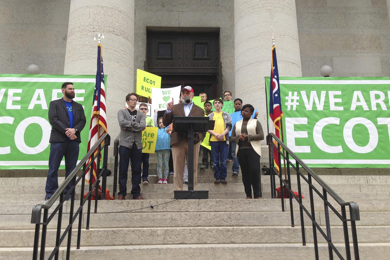 ECOT founder Bill Lager speaks to a crowd of students, parents and teachers at the Ohio Statehouse last May.