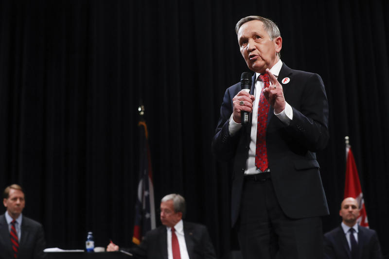 Former U.S. Rep. Dennis Kucinich of Ohio speaks during the Ohio Democratic Party's fifth debate in the primary race for governor, Tuesday, April 10, 2018, at Miami University Middletown.