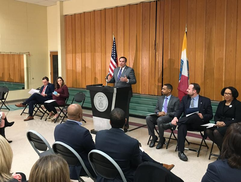 Mayor Ginther flanked by City Councilmembers unveiling his capital improvement budget