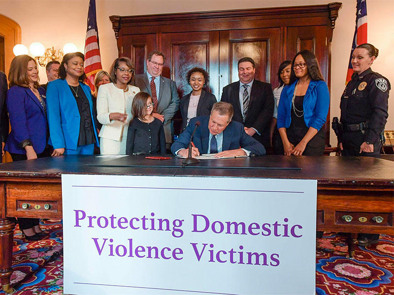 Gov. Kasich signs domestic violence bill into law.