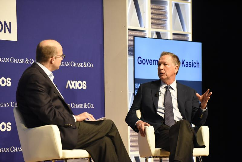 Gov. John Kasich speaks at a forum sponsored by Axios at Ohio State University.