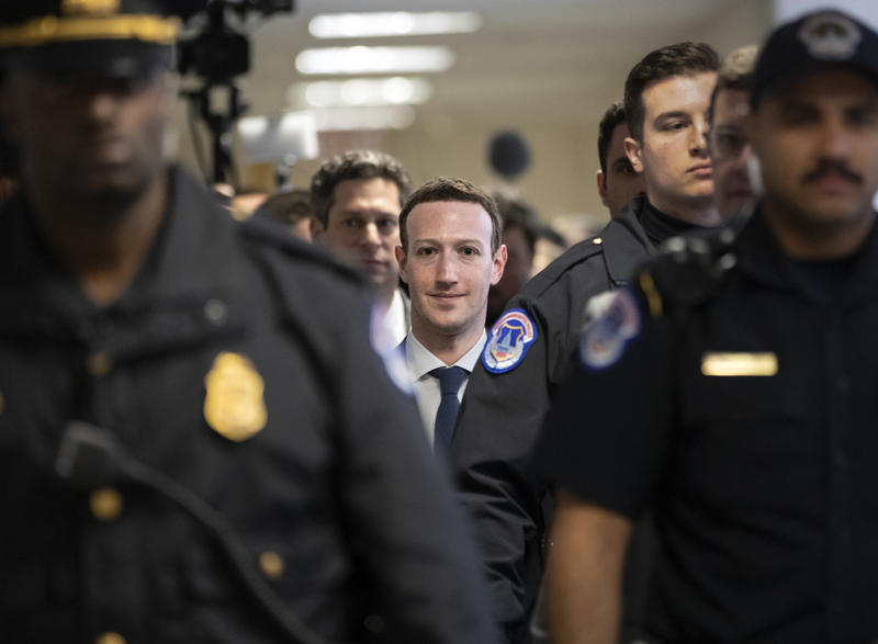 Facebook CEO Mark Zuckerberg arrives on Capitol Hill in Washington, Monday, April 9, 2018.